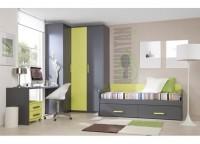 Dormitorio juvenil compuesta por armario de rinc�n con puerta plegable y recta; cama nido con cajones, mesa de estudio y cajonera con ruedas.