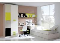 Habitaci�n infantil compuesta por cama arc�n de apertura lateral, arc�n de apertura frontal, mesa de estudio con cajonera con ruedas y armario con 2 cajones vistos y partidor interior.