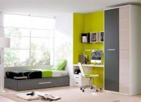 Habitaci�n infantil compuesta por una cama compacta con somier de arrastre, armario con partidor interior con estantes, mesa de estudio con bajo cajones + hueco y 3 cubos di�fanos a pared.