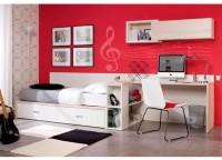 Dormitorio juvenil compuesto por compacto bajo 1 cama y 2 cajones de arrasrtre con paneles a pared para la cama y la zona de estudio; mesa rincón escuadra asimétrico con bajo librería y módulos a pared diáfano y con puerta.