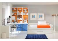 Dormitorio juvewnil compuesto por una librería de 3 cuerpos con bajo de estantes, puerta y cajones; mesa de estudio con apoyo en la librería y cama nido con 2 camas y respaldo.