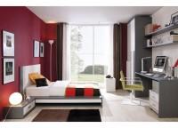 Dormitorio juvenil compuesto por una cama para colchón de 105 con mesita de 1 cajón; armario de 2 puertas con perfiles de aluminio de 100x220; zona de estudio recta con cajonera con ruedas y estantes a pared con soportes ocultos