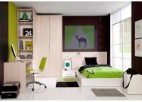 Dormitorio juvenil compuesto por armario rincón vestidor puertas plegables de 151x104 y 220 de alto; mesa de estudio con bajo 4 cajones y alto librería con el mismo fondo que el armario; cama para colchón de 105 con mesita de 1 cajón y cabezal recto a medida.