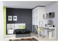 Dormitorio juvenil compuesto por una cama tatami para colchón de 105 con cabezal liso, mesita de 2 cajones con ruedas, mesa de estudio con forma concava y 3 estantes a pared tipo cubo y armario de 2 puertas japonesas correderas.