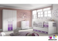 Habitaci&oacute;n infantil con cama de 190 x 90 con suplemento larguero de cajones con ruedas, armario 2 cajones exteriores, mesita con ruedas y mesa estudio de 147 x 58.