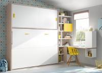 Habitación infantil con armario de 2 puertas largas decoradas con 4 paneles y perfil de aluminio (218 x 101) Junto al armario se sitúa la cama nido, un modelo con respaldo recto para colchón de 90 x 190, que incorpora en su base 2 contenedores y 4 cajones pequeños.Sobre la pared de la cama, se ha colgado un estante de 206, con trasera y 2 separadores metálicos.Por último, la zona de estudio la compone una encimera recta con una terminación curva (de 151 de largo), que apoya sobre un pie de mesa cuadrado de 20 cm de ancho y un soporte rectángulo que la sujeta a la cama nido.