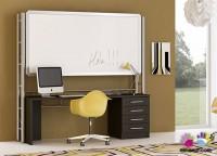 Habitación infantil con litera dual exenta con escalera.Las dimensiones del mueble son: 103 de fondo x 241 de ancho x 169 cm de altura.El espacio libre interior es de 195 cm x 120 de altura, y en el mismo se han ubicado, un módulo armario de dos puertas de 100 cm de ancho x 98 de fondo y una mesa extraíble de 95 cm con estantería. Esta litera incluye un importante refuerzo metálico (puede ir acabado en color aluminio o blanco)Precisa quitamiedos.