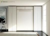 Cama abatible vertical de 150 x 190. con costados de 3 cm.Medidas estructura: 170 x 35 de fondo x 240 de altura y escotadura (rebaje) para salvar el zócalo y ajustar a pared.(Frente de cama acabado en melamina lisa).La cama, una vez abierta, desplaza 221 cm. desde la pared.Existe la posibilidad de ubicar una imagen serigrafiada en el frente de la cama, frente de cama partido.