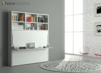 Estancia con cama abatible horizontal de matrimonio para colchón de 150 x 190 con escritorio plegable incorporado.