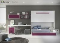 Habitación juvenil moderna y de calidad premium con cama abatible con nido y zona de estudio.El dormitorio se compone por:-litera abatible alta para colchón 90x190 con cama nido con cajones (guías ocultas amortiguadas de extracción total)-cabezal abatible-quitamiedos metálico (opcional abatible)-escalera litera-mesa estudio de 200x60 con soportes-mesita 3 cajones con ruedas-alto colgar con puerta-estantería doble abierta de colgar