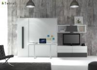 El salón con cama abatible y escritorio incorporado, es una de las soluciones de optimización de espacio más solicitadas.