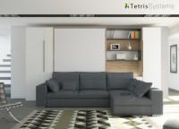 Salón con cama abatible vertical de matrimonio con chaiselongue en 2 piezas, armario una puerta y elemento ciego integrado con el brazo del sofá