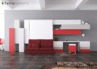 Salón con cama abatible vertical de matrimonio y sofá DIVO sin brazos con escritorio y composición mural.