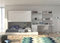 Juvenil con cama abatible alta y sistema modular con cajones. En la zona estudio cuenta con escritorio recto, paneles murales bicolor, cajonera y estantes.