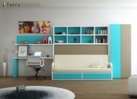 Dormitorio con cama abatible con sofá integrado para habitaciones para jóvenes