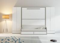 Literas abatibles con sofá VERSATILE + armarios rectos con cajón inferior.
