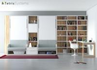 Dormitorio-Estudio con dos camas verticales VERSATILE + libreria y escritorio recto.