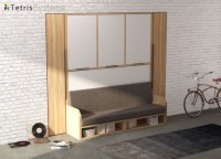 Dormitorio juvenil con banqueta VERSATILE para colchón de 90 x 190 con dos armarios laterales y un armario superior de 3 puertas.