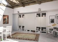Salón con cama abatible vertical para colchón de 150 x 190. La composición mural está integrada por dos 4 librerías (dos a cada lado) y una cama WALLBED en la parte central, todo dispuesto de manera muy simétrica y siguiendo unas pautas de distribución contemporánea.