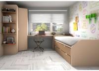 Dormitorio juvenil equipado connuestro novedoso compacto F1 con base de 3 cajones.La cama intermedia de este compacto tiene la particularidad de que se puede colocar invertida, es decir, con la parte posterior hacia el frente.Incluye taladros de aireación en la base de tablero de ambas camas y un rebaje trasero para el rodapié.Complementos:-Armario en ángulo plegable de 3 puertas de 219 h x 124,3 x 100 x 56 F (Altillo + 3 estantes + 3 cajones interiores)-Encimera de 185 de largo con sobre decreciente x 45 / 55,8 de fondo-Arcón cabecero extraíble de apertura lateral pra compacto ( 90 x 41 F)-Terminal curvo abierto derecho de 219 h