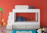 Habitación infantil con Litera de 2 camas + base nido con dos cajones.Los elementos que integran la presente composición son los siguientes:-Litera diseño elmenut 200 x 100 x 125 h-Escalera con 4 cajones 40 x 120 x 120h-Quitamiedos móvil de 100 x 3 x 28 h-Dos módulos de 1 cajón con zócalo (tapa única para ambos) 96 x 45 x 30