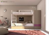 Dormitorio infantil con litera compacta con cajones y armario con barra extraible. La litera de la imagen se puede solicitar con el armario en el lado izquierdo o en el derecho, y existen diferentes diseñ