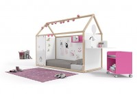 Zonas de estudio: Dormitorio juvenil con cama abatible vertical para colchn de 90x190, con un armario de una puerta de 60x236x60,5 y escritorio rinconero con estantes.