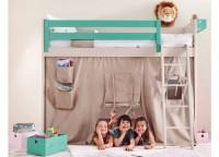 Divertida habitación infantil estilo cabaña. Está integramente fabricada en madera de haya y acabado con lacas texturada de color SAFARI.Los elementos que componen esta habitación son los siguientes:-Litera lisa con friso modelo LOFT para colchón de 90 x 190-Quitamiedos de 150-Tela TIPI para litera modelo LOFTComplementos opcionales (no incluídos en el precio):-Maxi Box móvil de 70 x 15 x 12-Box de 40 x 15 x 12-Box de 25 x 25 x 19-Box de 40 x 25 x 19-Poner palabra en Box-Juguetero