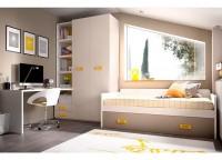 Dormitorio Juvenil con cama completa para colch�n de 90*190. Armario rinc�n y altillo con puertas correderas. La mesa de estudio se fabrica a medida.
