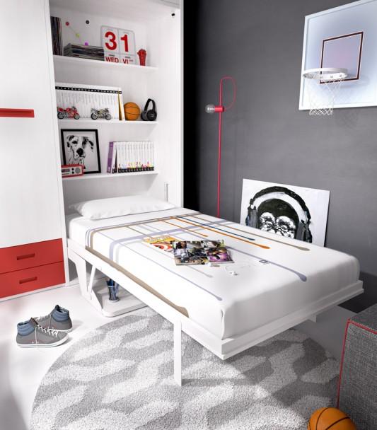 Juvenil con cama abatible vertical armario recto elmenut - Camas abatibles juveniles ...