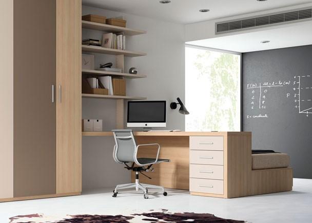 Estudio armario p correderas cama elevable elmenut - Habitaciones juveniles originales ...