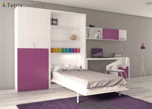 Aparador Mdf ~ Cama abatible vertical, armario, escritorio Elmenut