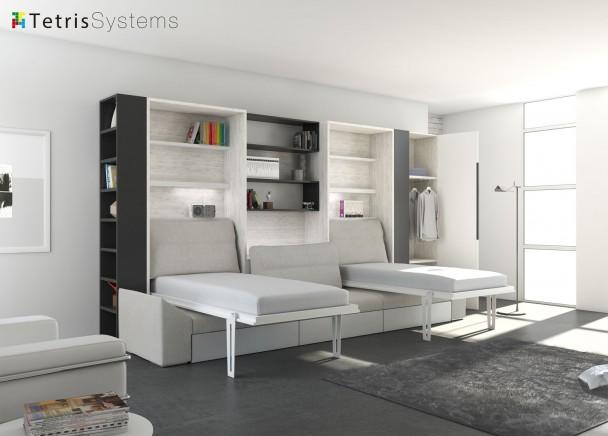 Sal n con doble cama abatible vertical y sof elmenut for Sofa cama armario