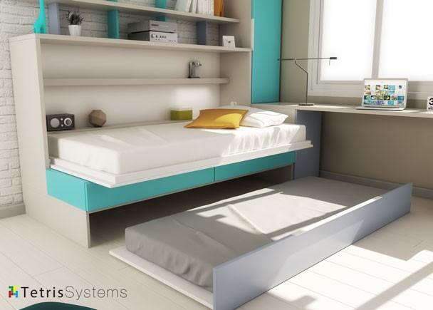 Cama abatible con sof nido escritorio y armario elmenut - Cama abatible escritorio ...
