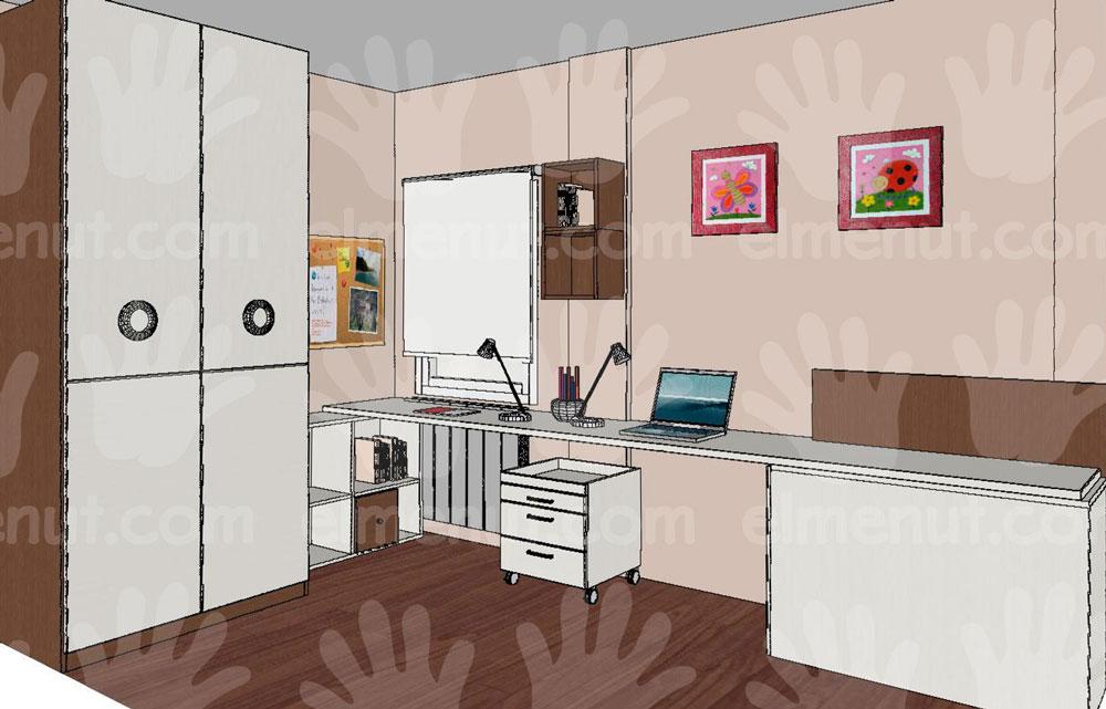 Cama con sistema abatible, escritorio, cajonera, estanterías y armario de dos puertas
