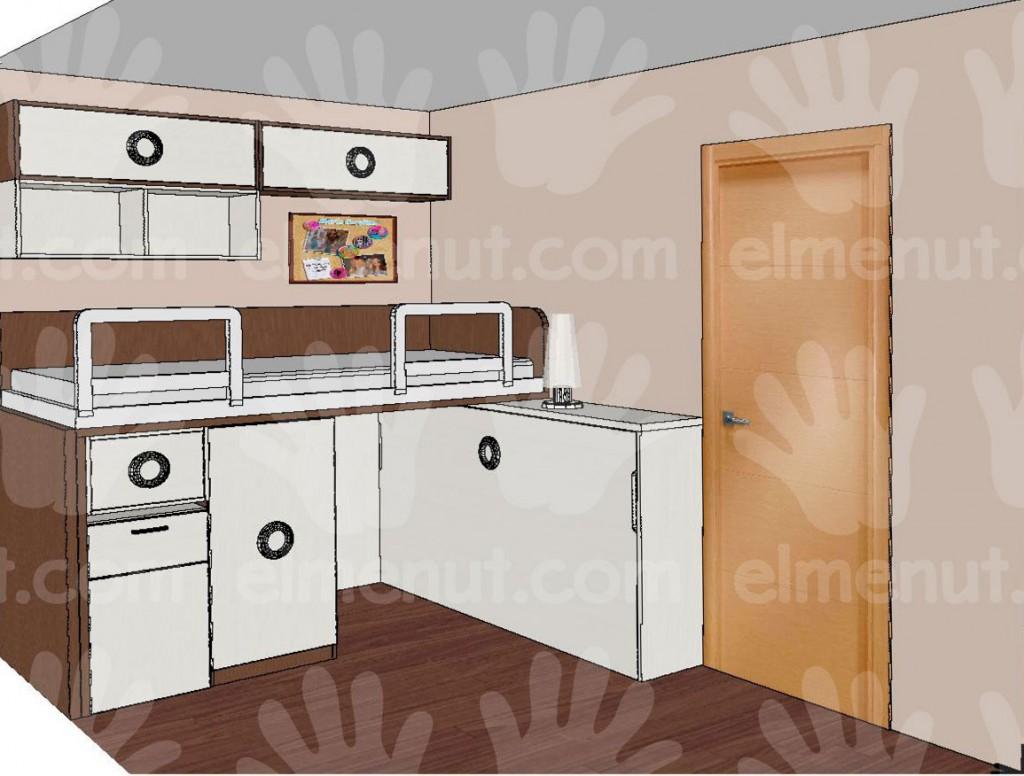 Proyecto habitaci n 2 ni as con poco espacio elmenut for Dormitorios con poco espacio
