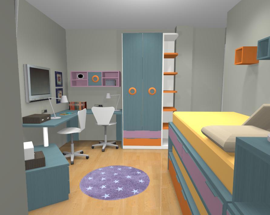 Habitaci n infantil para ni as de 6 y 10 a os elmenut for Camas individuales para ninas