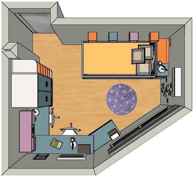 Plano de planta de habitación para niñas de 6 y 10 años