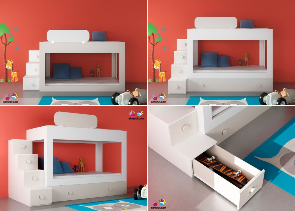 Esta litera permite seguir incorporando elementos posteriormente (bien una tercera cama nido situada bajo la base de la cama inferior, o dos prácticos baúles contenedores que ofrecen un magnifico almacenamiento adicional).