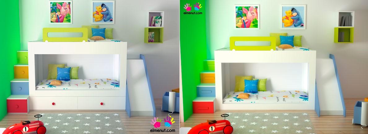 Habitaciones infantiles decoradas con literas - Literas con escaleras de cajones ...