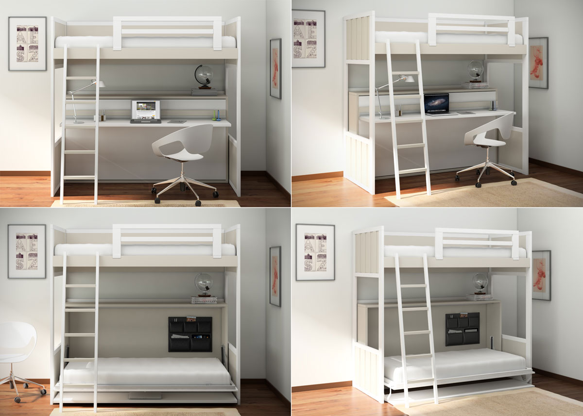 Habitaciones infantiles decoradas con literas - Cama litera con escritorio debajo ...