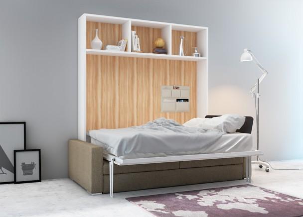 Cama horizontal matrimonio 150 cm. + sofá divo