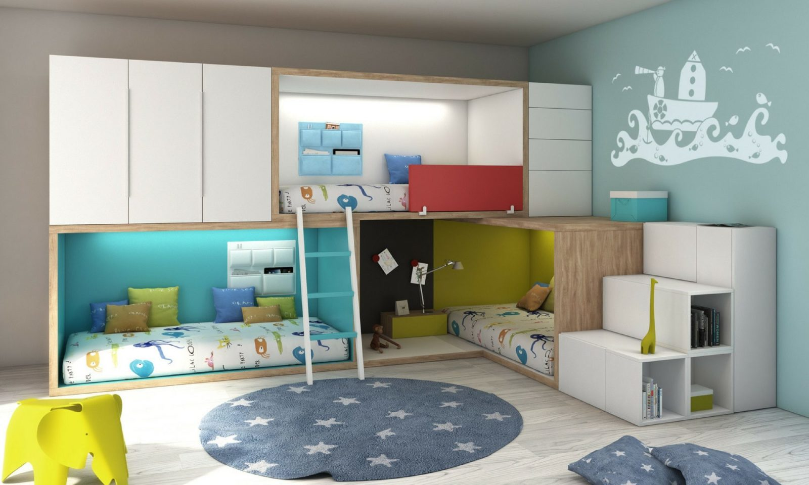 Habitaciones infantiles decoradas con literas for Ideas de decoracion de dormitorios