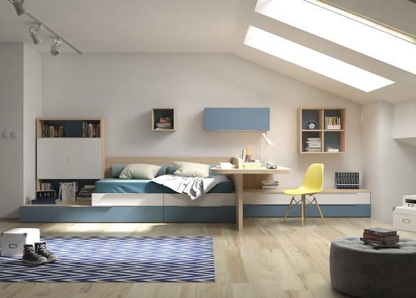 distribución de dormitorio juvenil modular