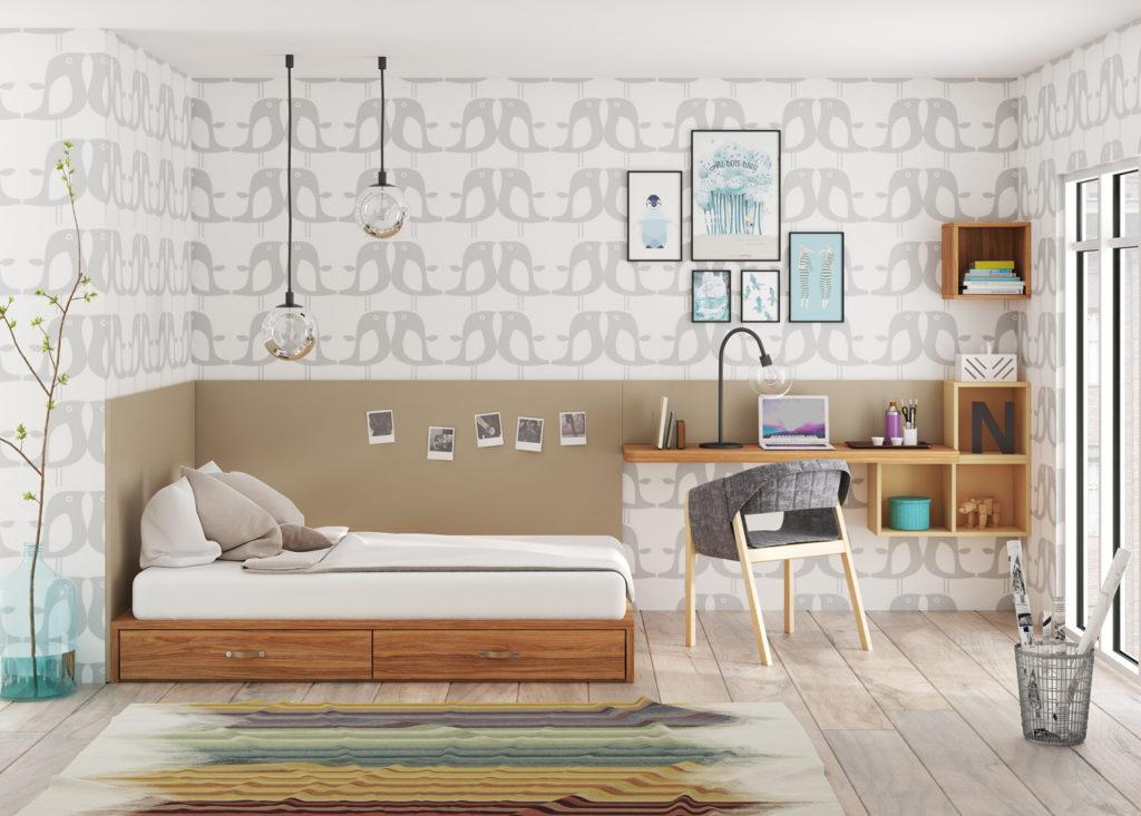 dormitorio juvenil moderno con cabezal en pared