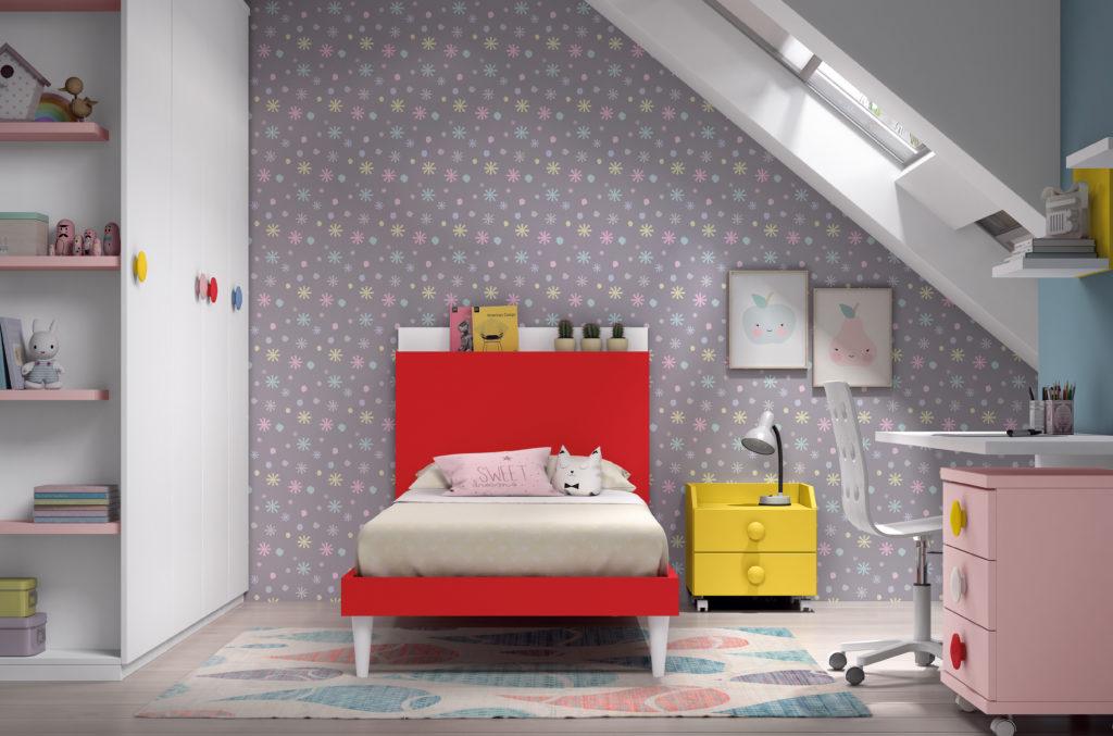 habitacion infantil cabezal rojo