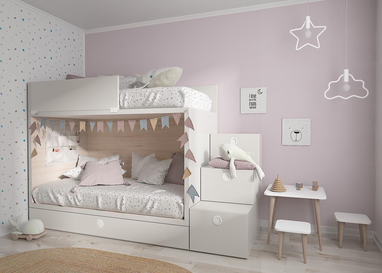 habitación infantil con litera y espacio de almacenamiento