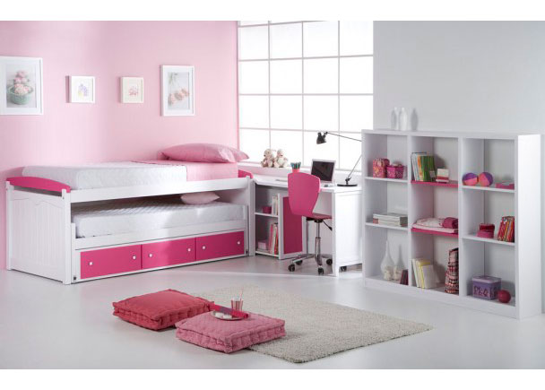 Dormitorio En Madera Maciza Lacada Blanco Rosa Elmenut