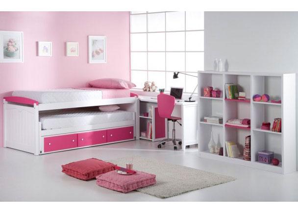 Dormitorio en madera maciza lacada blanco rosa elmenut for Cama compacta infantil