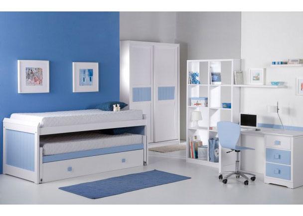 Habitación infantil en madera maciza lacada blanca con detalles en celeste. Cama compacto con 3 camas. Mesa de estudio 3 cajones, Medida 130*60 Libr